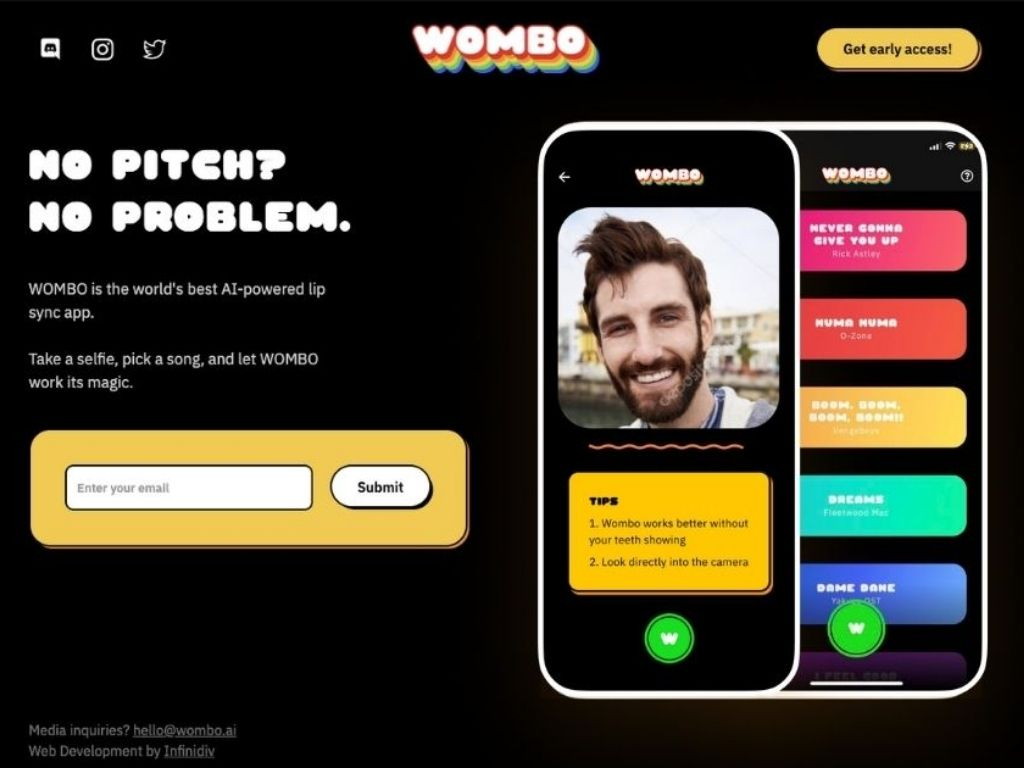 Video editing app number 3: Wombo