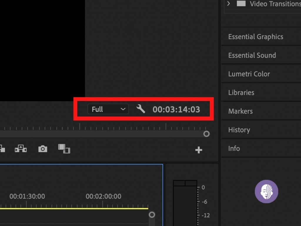 Click on the wrench icon in Adobe Premiere Pro