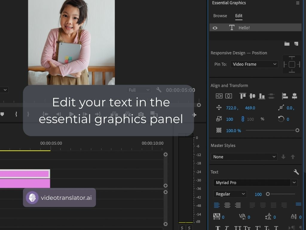 Edit your text in the essential graphics panel