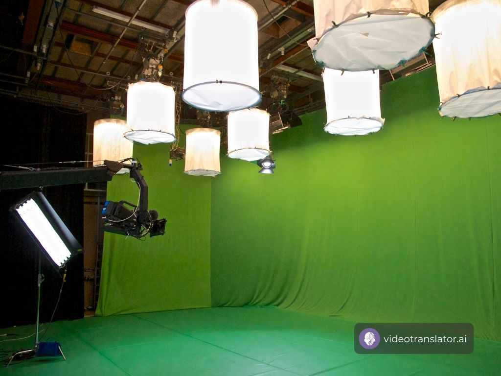 Movies set up with green screen
