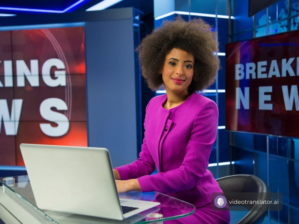 News anchor reporting news
