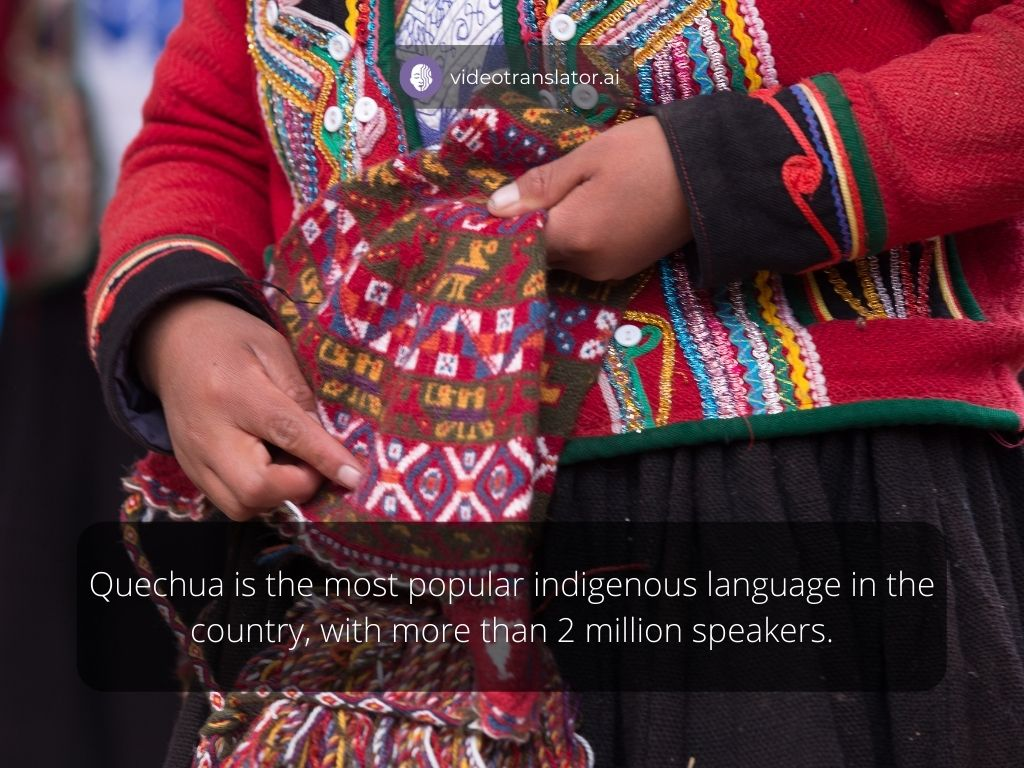 Quechua is the most popular indigenous language in the country, with more than 2 million speakers.