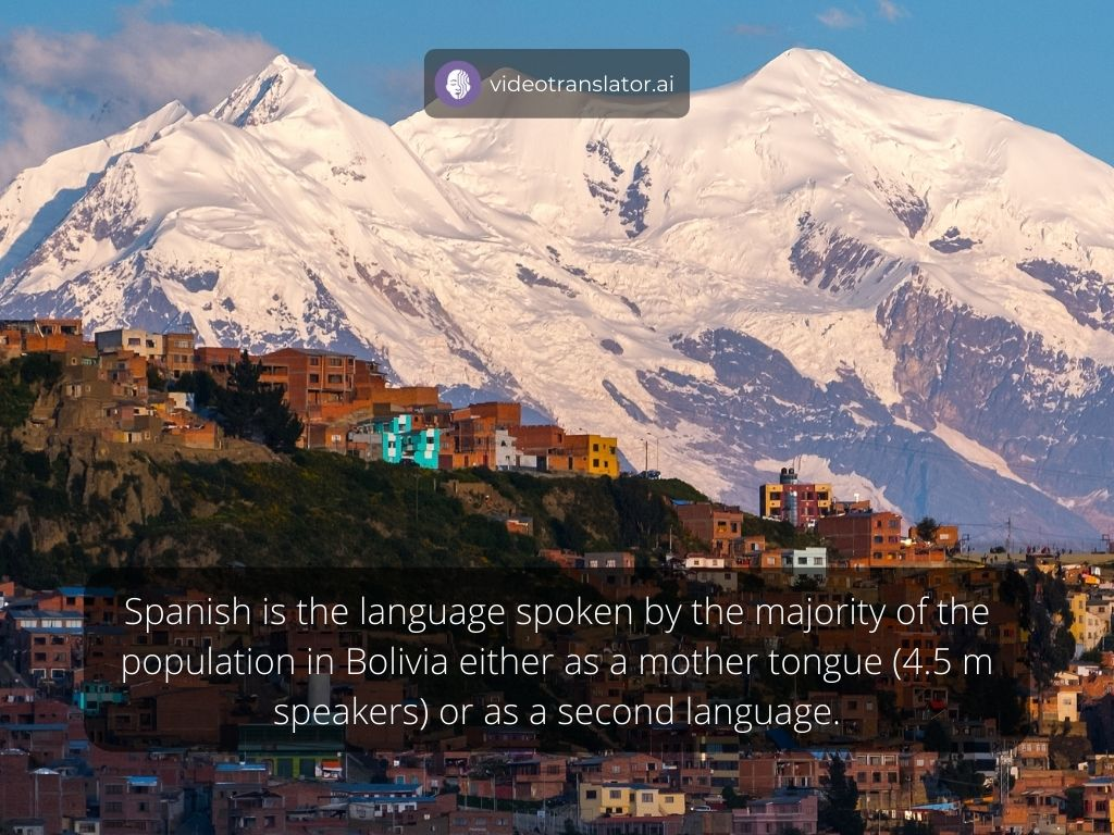 Spanish is the language spoken by the majority of the population in Bolivia