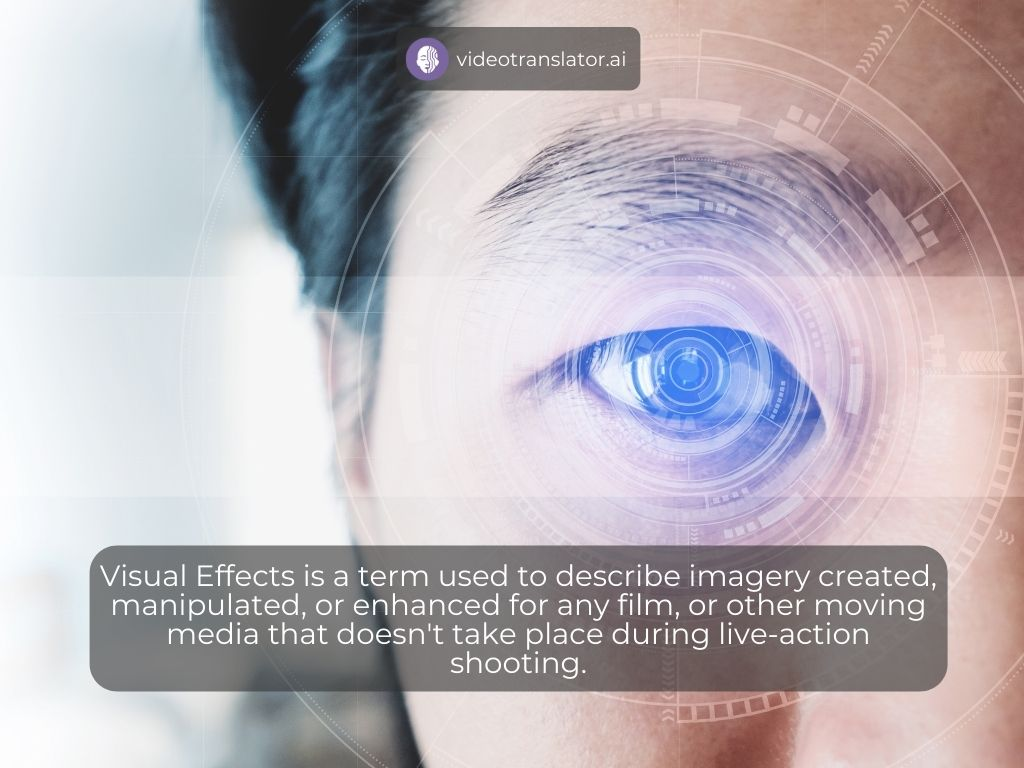 Visual Effects is a term used to describe imagery created, manipulated, or enhanced for any film, or other moving media that doesn't take place during live-action shooting.